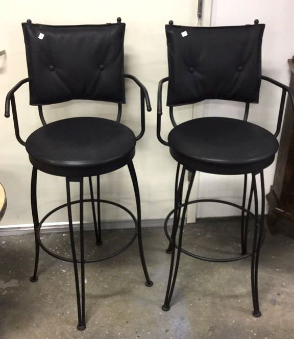 Pair Black Metal Swivel Bar Chairs