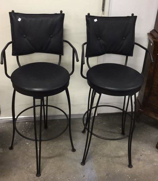 Pair Black Metal Swivel Bar Chairs - 2