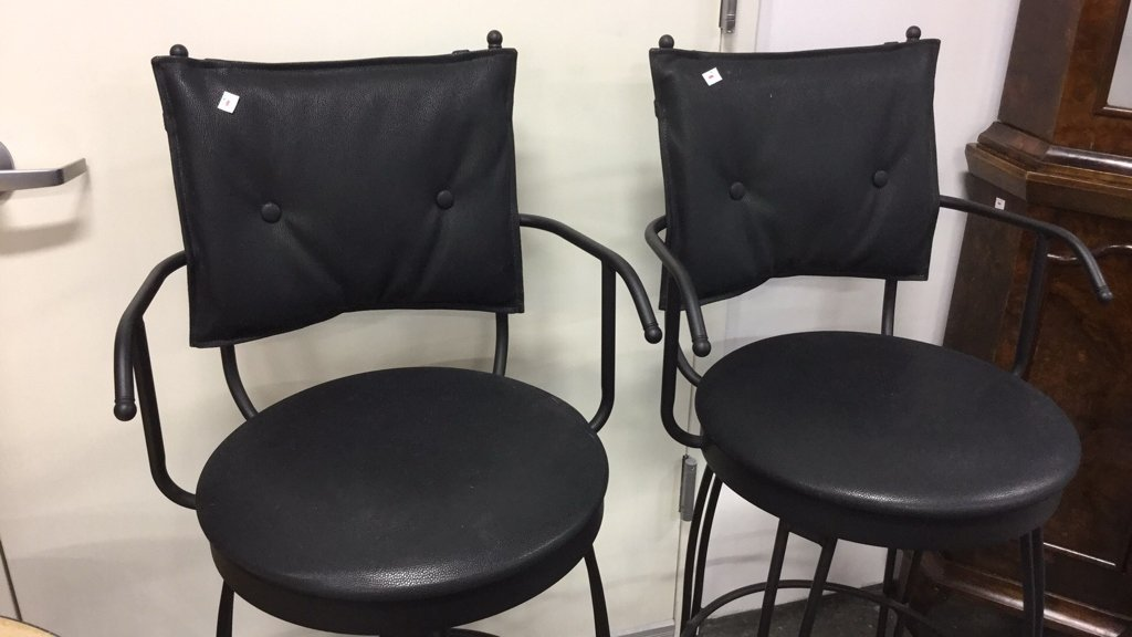 Pair Black Metal Swivel Bar Chairs - 4