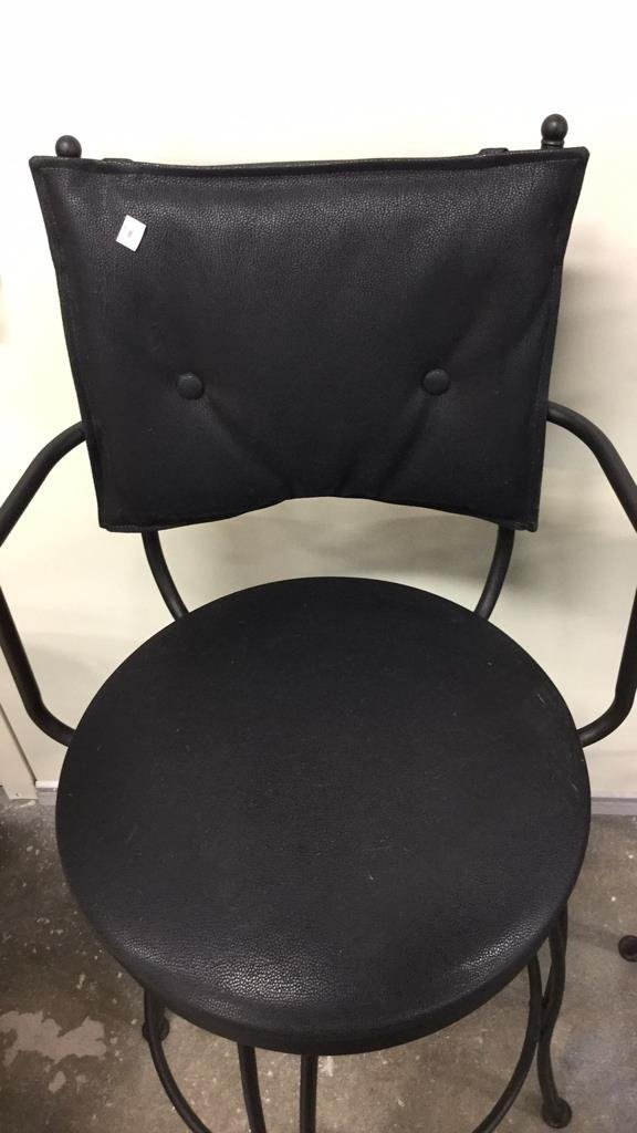Pair Black Metal Swivel Bar Chairs - 5