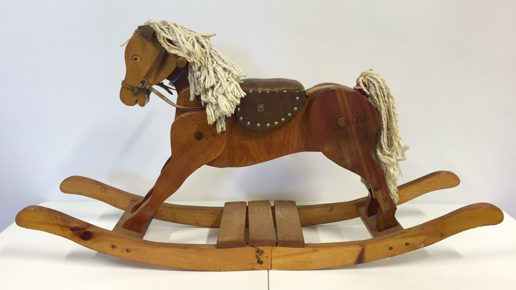 Vintage Rocking Horse With Leather Seat
