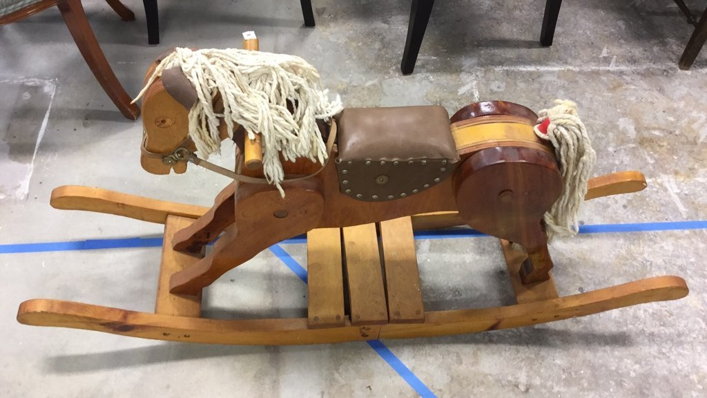 Vintage Rocking Horse With Leather Seat - 2