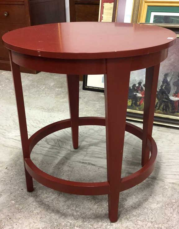 Red Painted Round Side Table