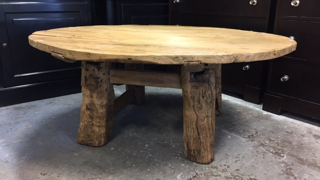 Rustic Pine Hand Planed Round Coffee Table