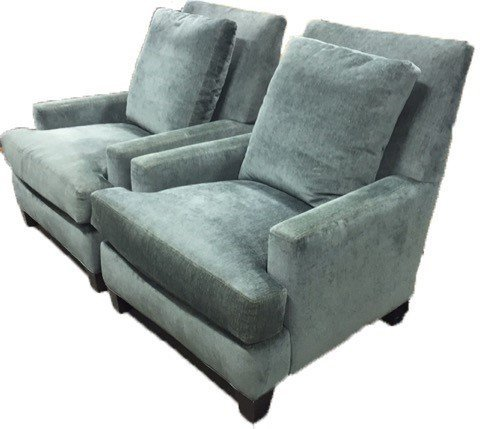 Pair LEE Custom Upholstered Arm Chairs