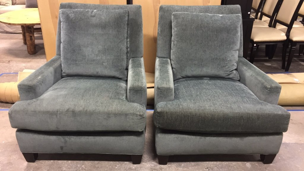 Pair LEE Custom Upholstered Arm Chairs - 2