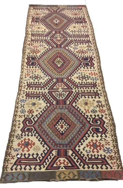 Vintage Kilim Colorful Geometric Runner Carpet