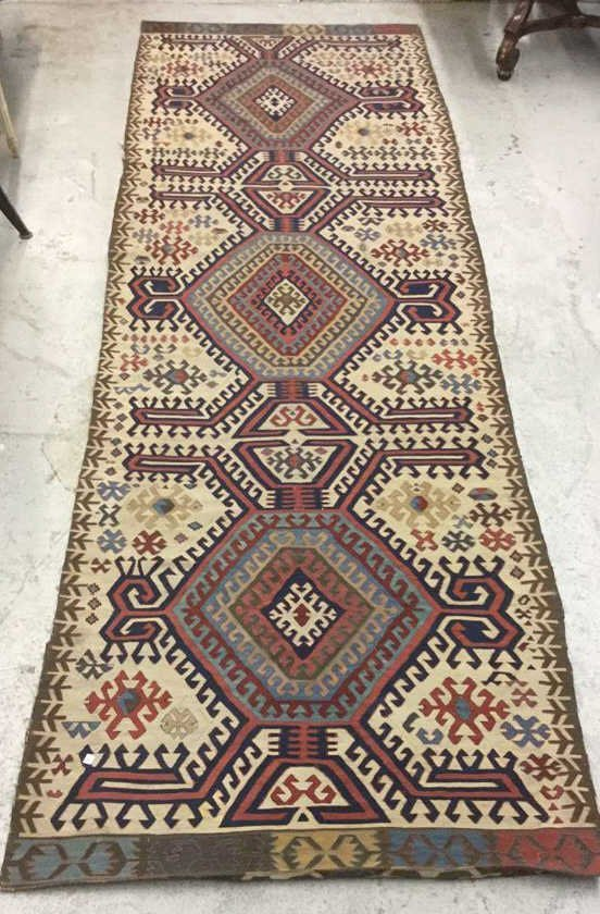 Vintage Kilim Colorful Geometric Runner Carpet - 2