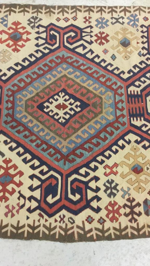 Vintage Kilim Colorful Geometric Runner Carpet - 3