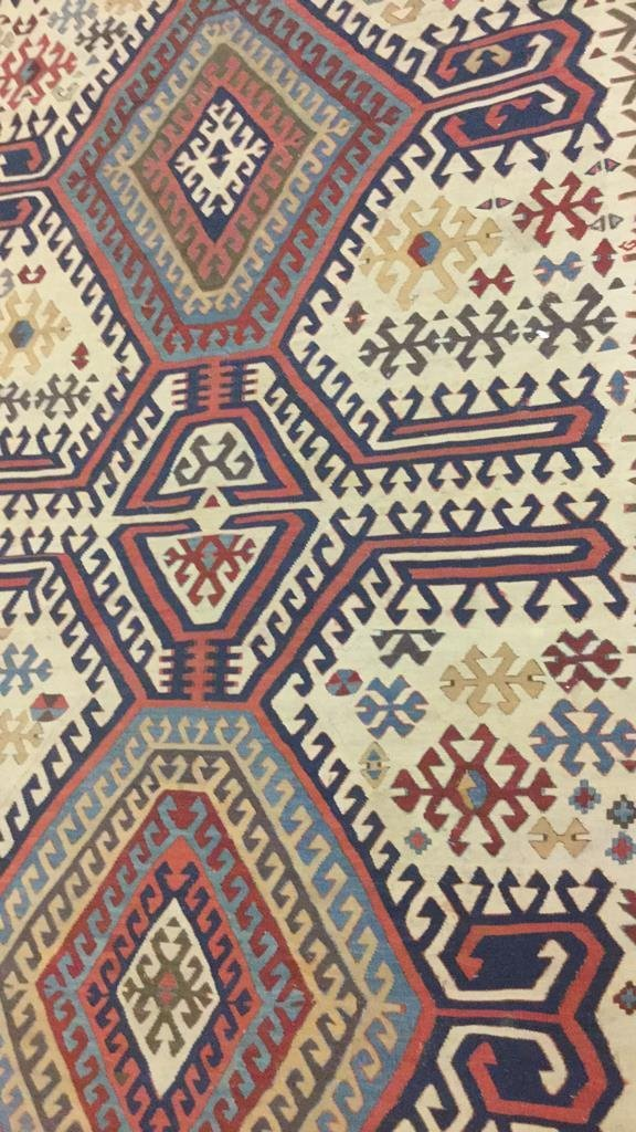 Vintage Kilim Colorful Geometric Runner Carpet - 4