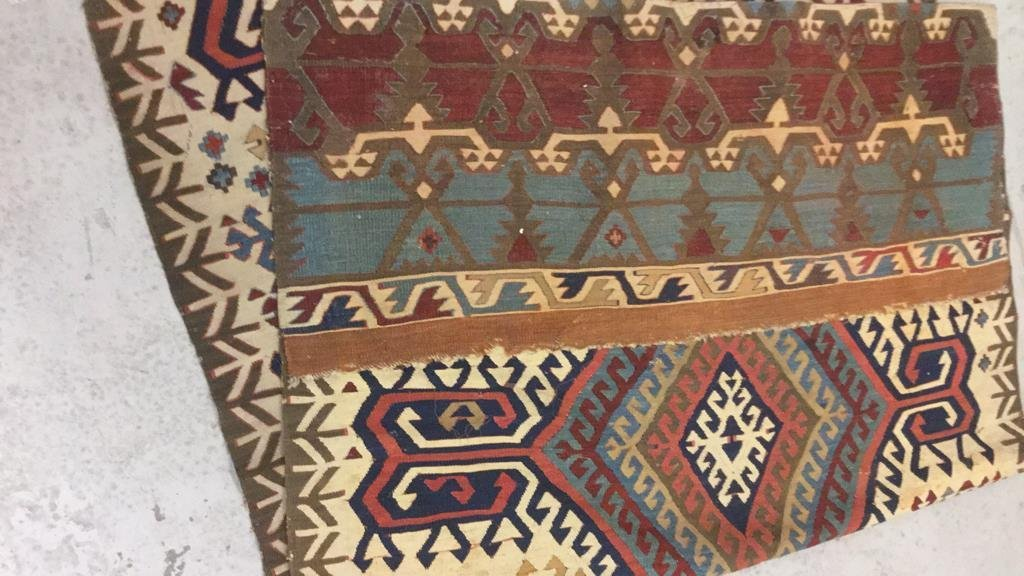 Vintage Kilim Colorful Geometric Runner Carpet - 6