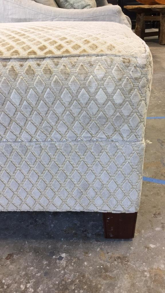 Sand Colored Diamond Pattern Ottoman - 3