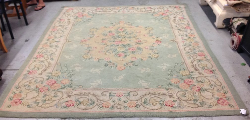 Green & Pink Hand Stitched Carpet
