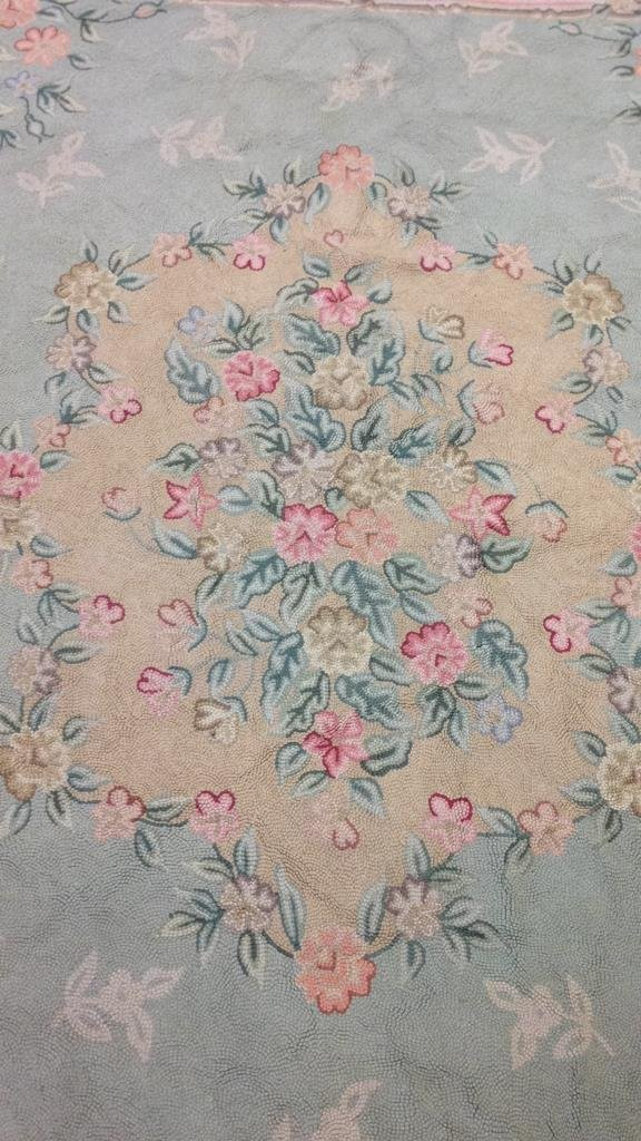 Green & Pink Hand Stitched Carpet - 2