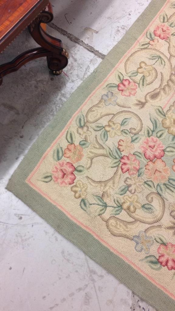 Green & Pink Hand Stitched Carpet - 3