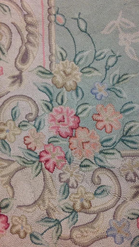 Green & Pink Hand Stitched Carpet - 4
