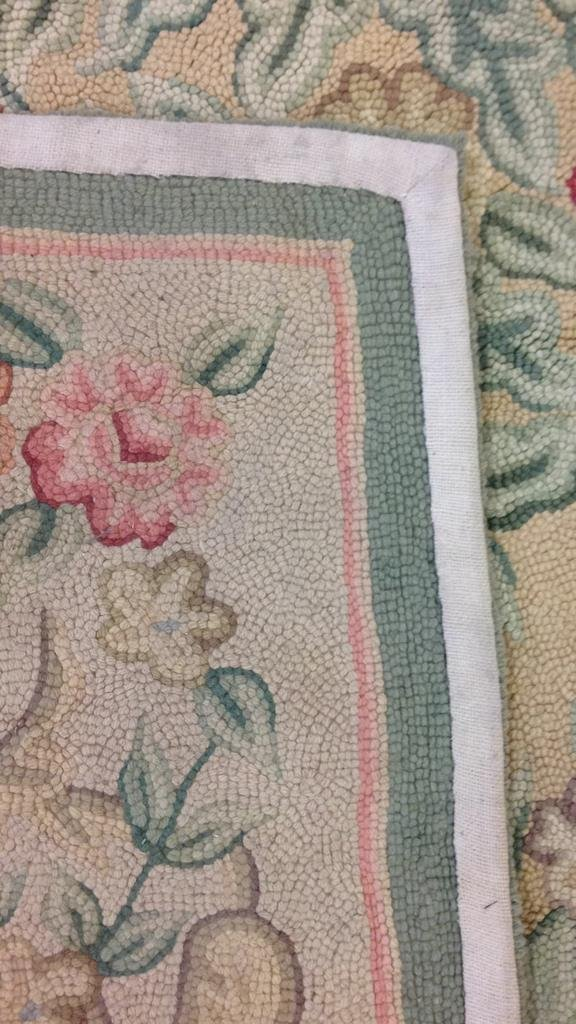 Green & Pink Hand Stitched Carpet - 5