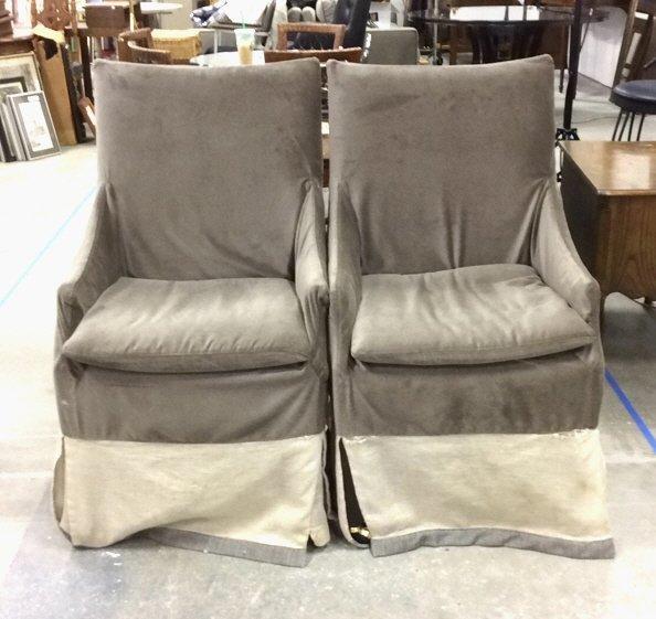Pair Grey Velvet Skirted Chairs on Wheels