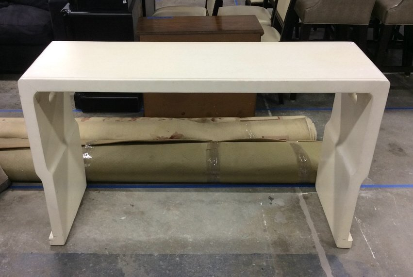 White Painted Curved Wood Console Table