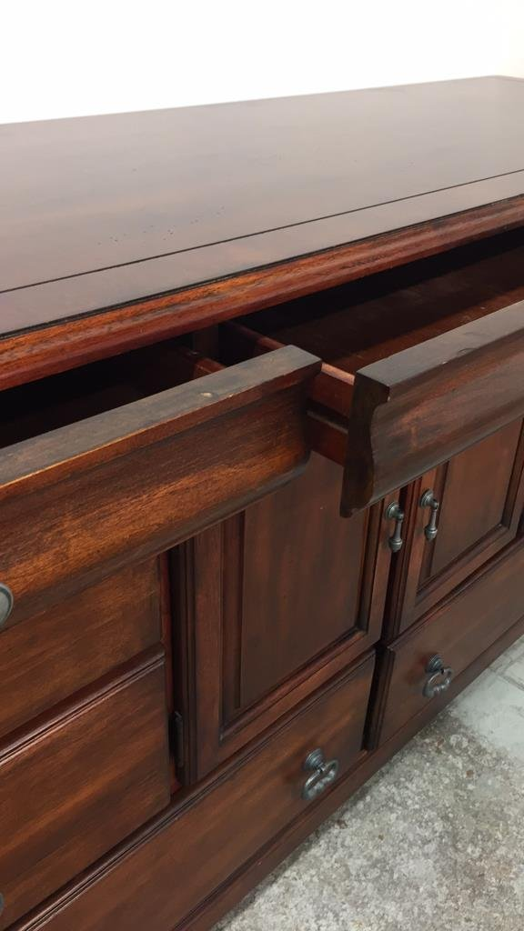 Country French Console Cabinet with Rustic Handles - 3