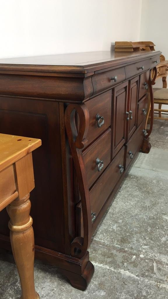 Country French Console Cabinet with Rustic Handles - 4