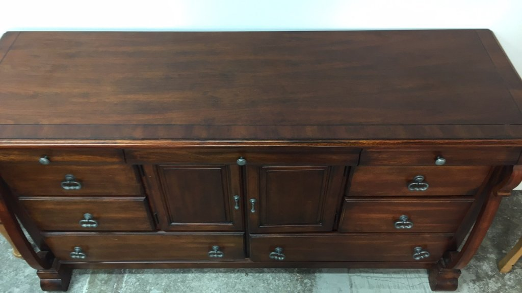 Country French Console Cabinet with Rustic Handles - 5