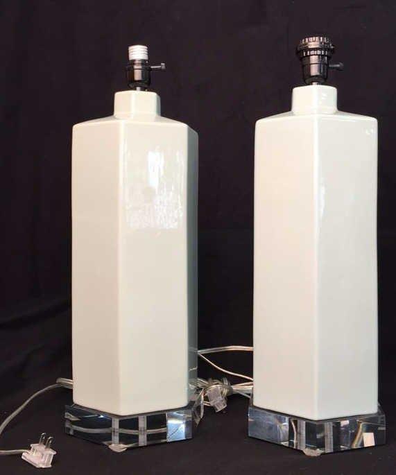 Pair Ceramic Hexagon Table Lamps