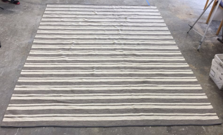 Gray Woven Striped Area Rug