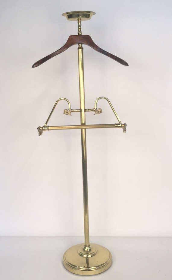 Brass and Wood Mens Valet Stand