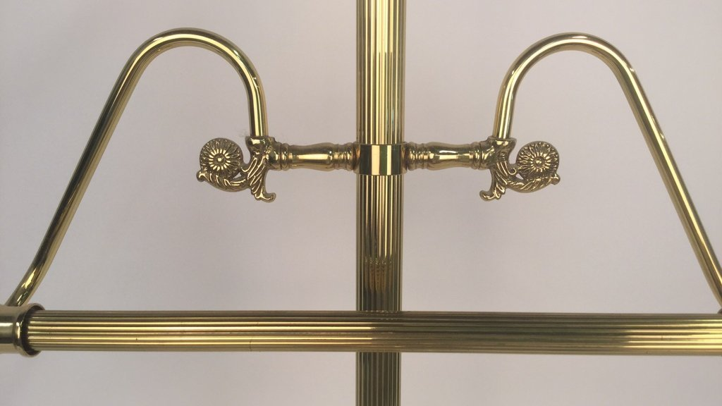 Brass and Wood Mens Valet Stand - 4