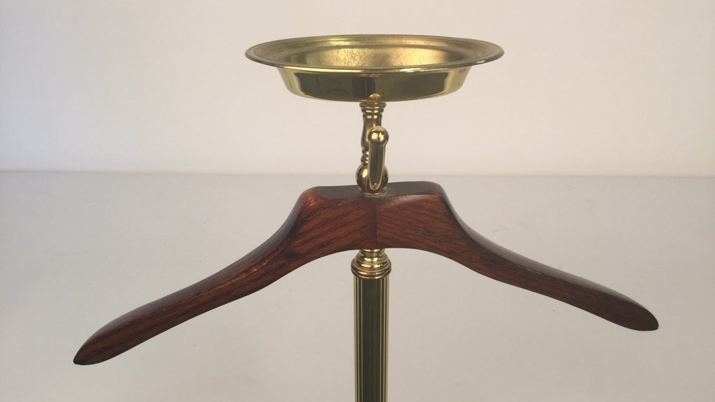 Brass and Wood Mens Valet Stand - 9