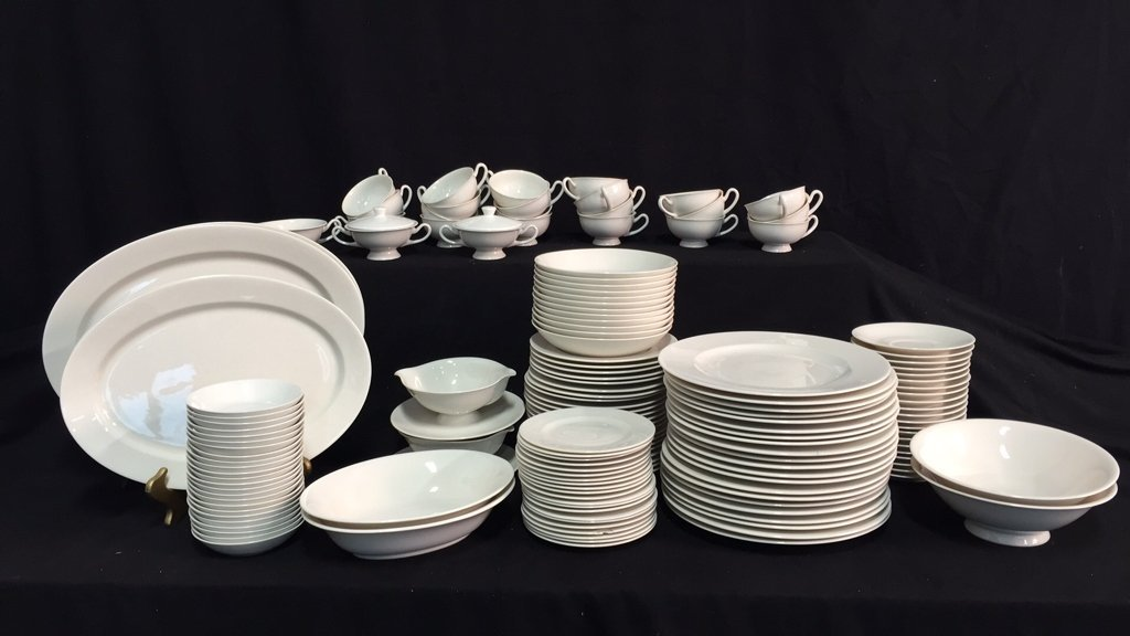 134 Pieces Unmarked Bone White China