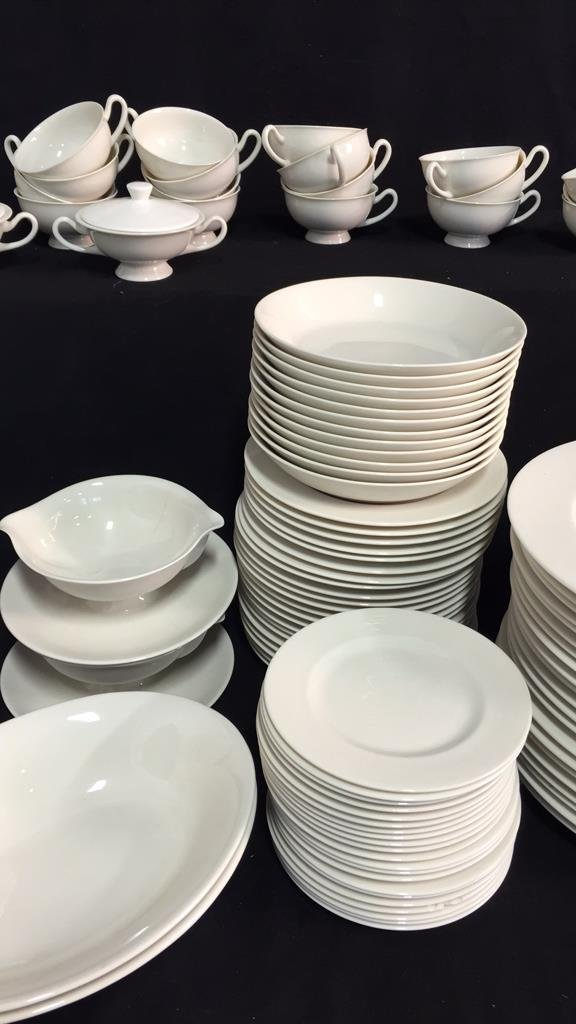 134 Pieces Unmarked Bone White China - 2