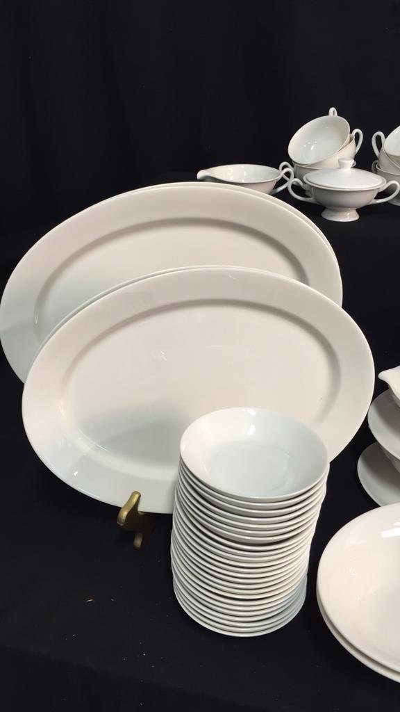 134 Pieces Unmarked Bone White China - 3
