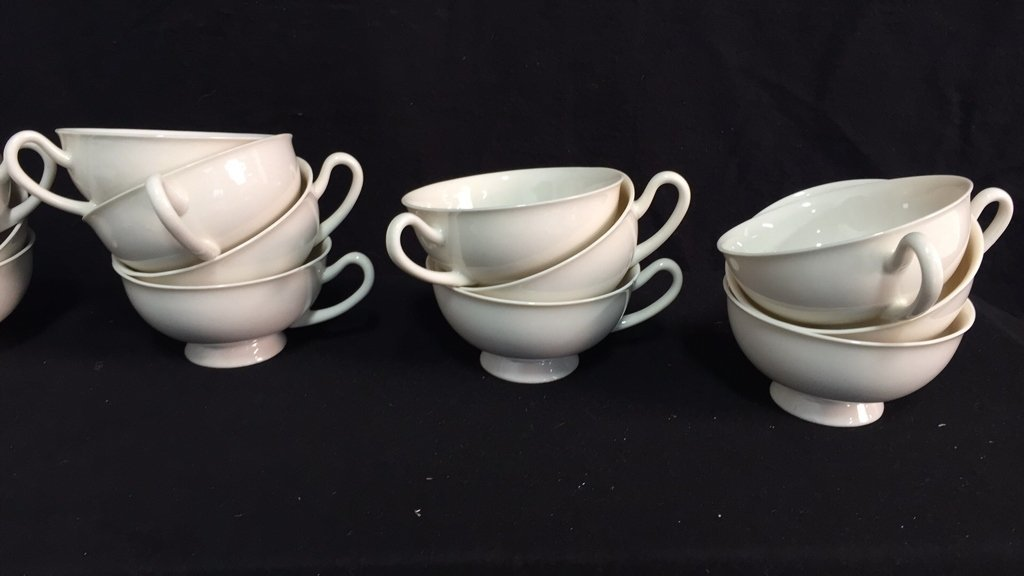 134 Pieces Unmarked Bone White China - 4