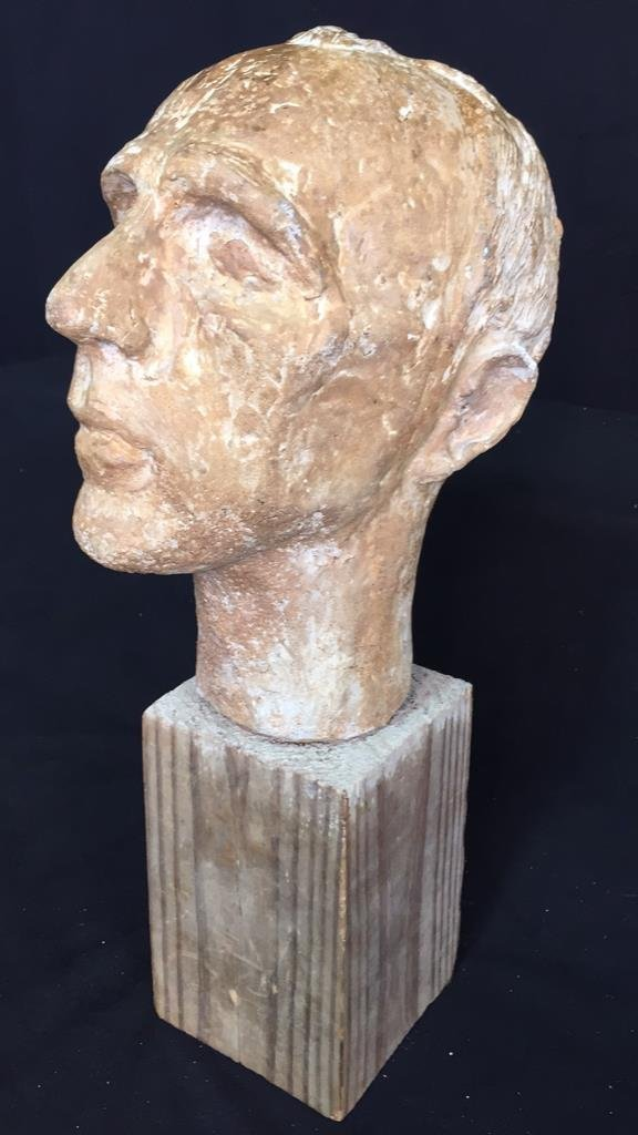 Unsigned Male Bust on Wood Block