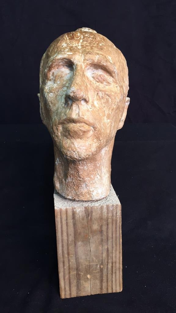 Unsigned Male Bust on Wood Block - 2