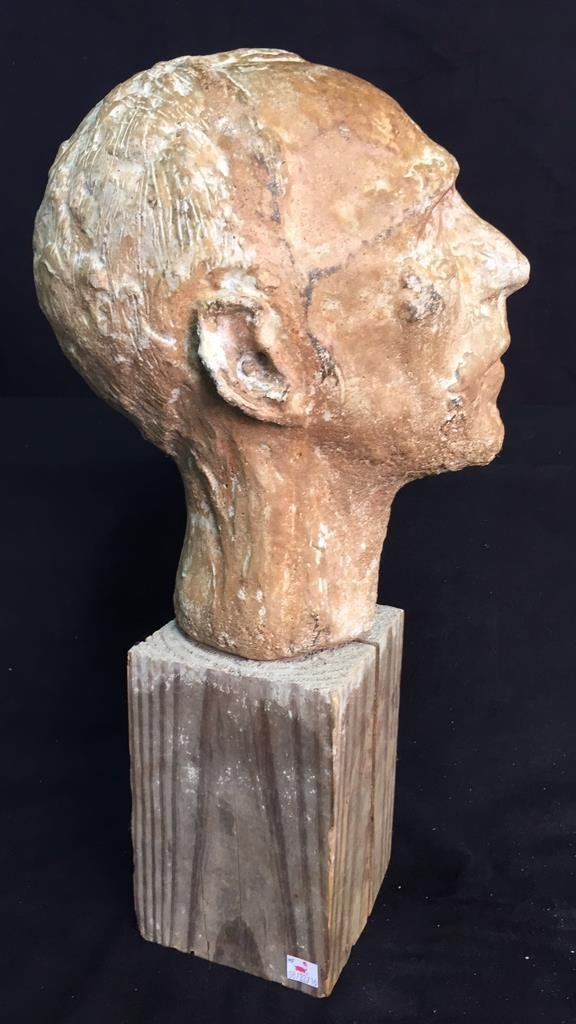 Unsigned Male Bust on Wood Block - 5