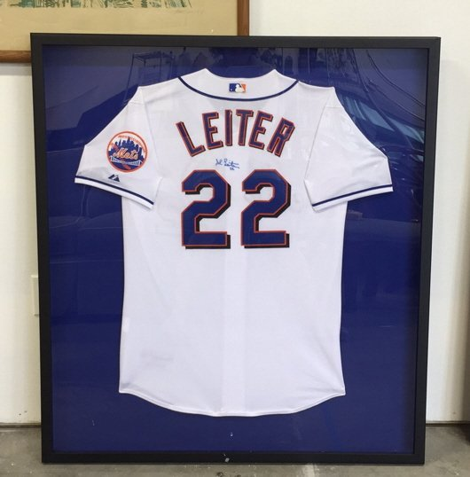 Framed Signed NY Mets LEITER Jersey