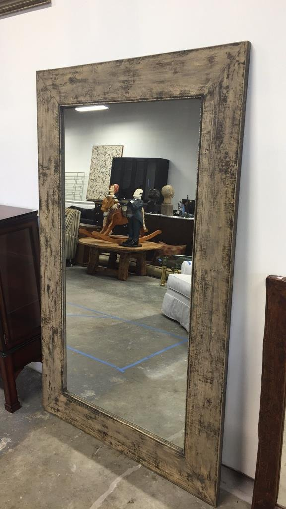Rustic Wide Plank Mirror Distressed Finish