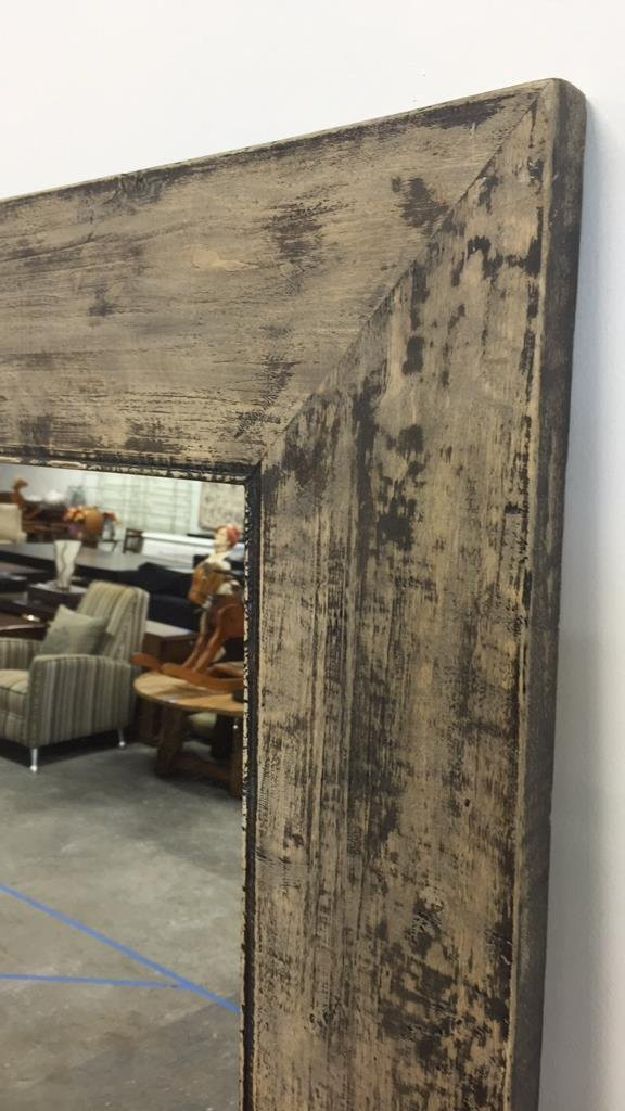 Rustic Wide Plank Mirror Distressed Finish - 2