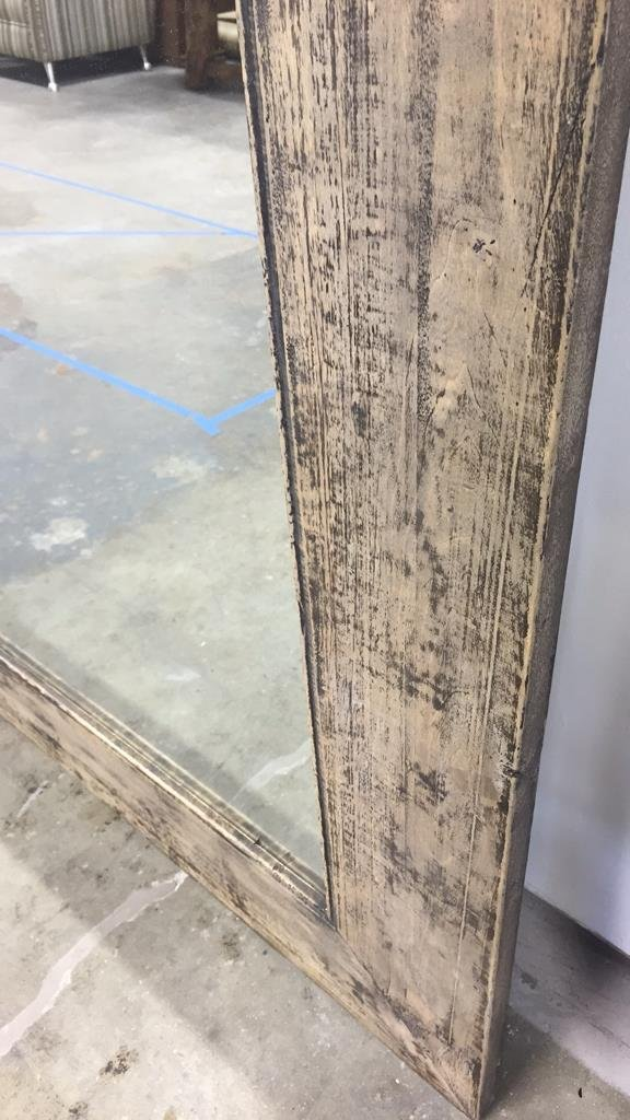 Rustic Wide Plank Mirror Distressed Finish - 3