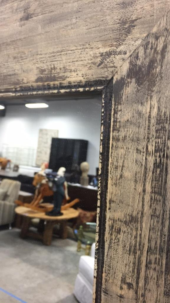 Rustic Wide Plank Mirror Distressed Finish - 6