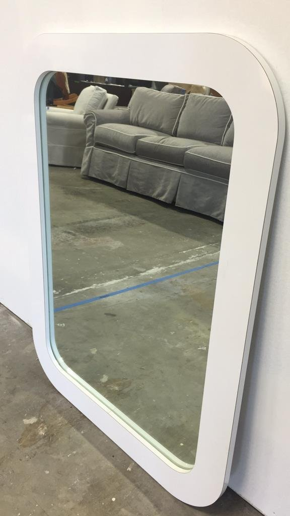 White Mid Century Formica Framed Mirror - 2