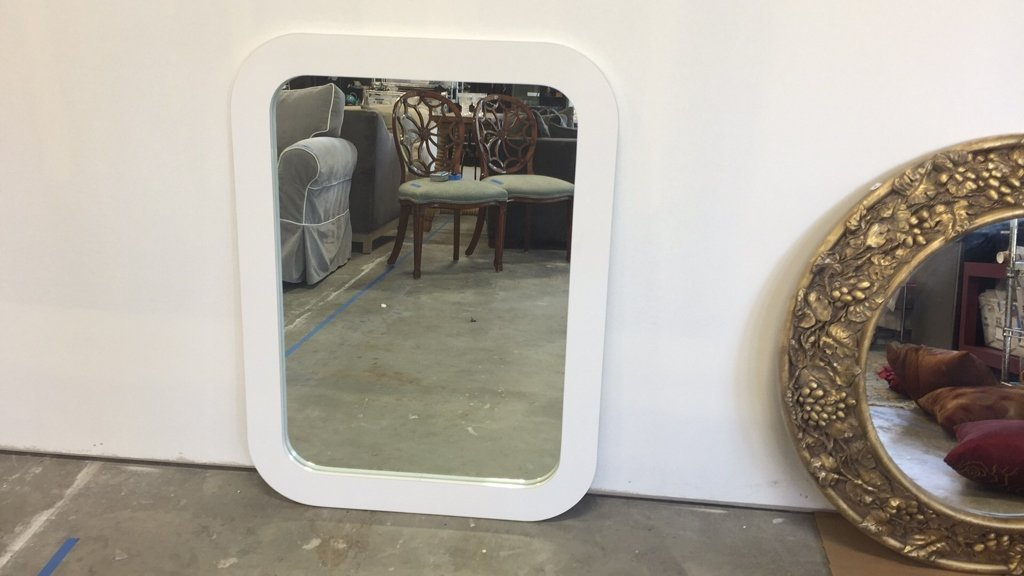White Mid Century Formica Framed Mirror - 4