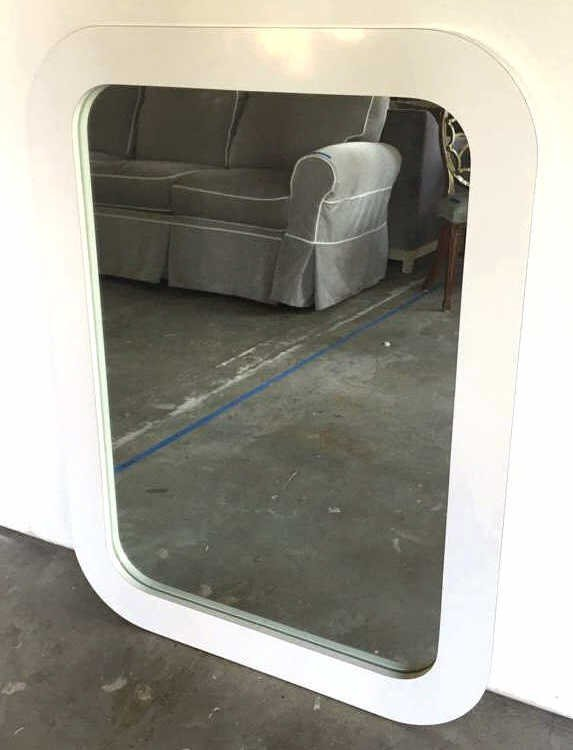 White Mid Century Formica Framed Mirror - 6