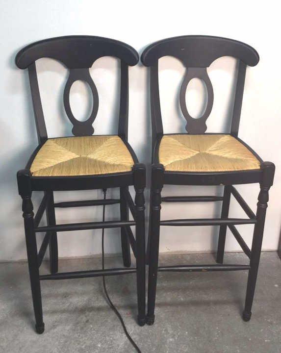 Pair Bar Chairs Wicker Seats Matte Black Frame