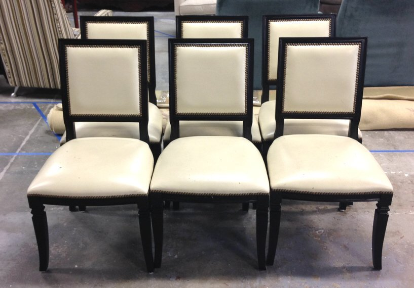 Set of 6 White Leather Dining Chairs
