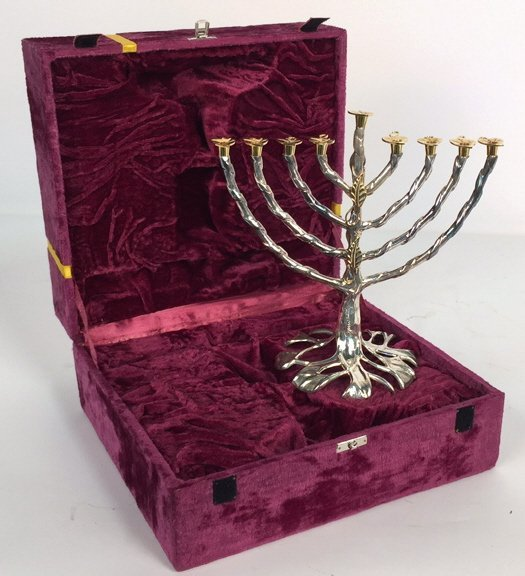 Signed Gold & Silver Finished Menorah - 7