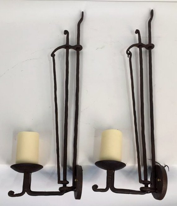 Wrought Iron Rustic Candlestick Sconces